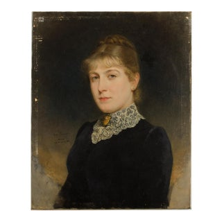 """Late 19th Century """"Seated Lady"""" Portrait Oil Painting by Artur Ferraris For Sale"""
