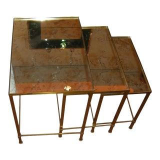 Style of Marc Duplantier Set of 3 Gold Nest Tables With Mirror Top