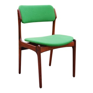 Mid-Century Green Danish Solid Rosewood Chair by Erik Buck For Sale