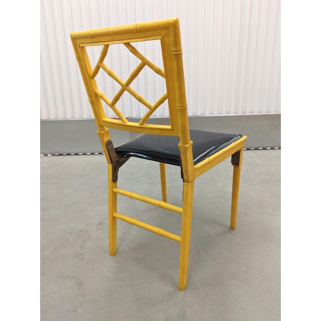 1970s Hollywood Regency Faux Bamboo Folding Chairs - a Pair For Sale - Image 9 of 11