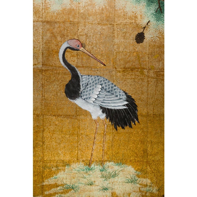 """Japanese Style 2-Panel """"Cranes at Rest"""" Hand-Painted Gold Foil Screen by Lawrence & Scott For Sale In Seattle - Image 6 of 11"""