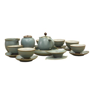 Chinese Light Blue Green Pottery Tea Drinking Serving Set