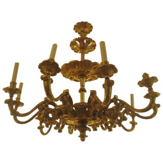 Custom Hand-Carved Giltwood Eight-Arm Chandelier in the Baroque Manner For Sale