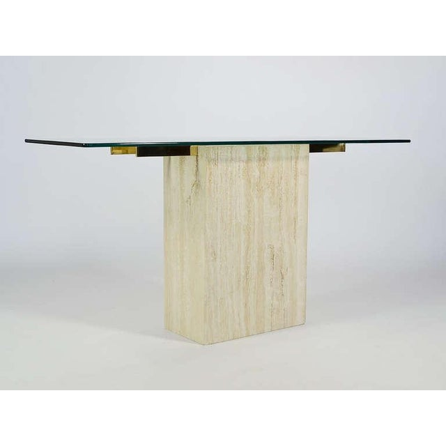 Brass Italian Travertine and Glass Console Table by Ello For Sale - Image 7 of 11