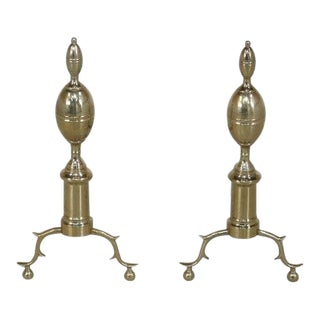 Virginia Metal Crafters Brass Fireplace Andirons - a Pair For Sale