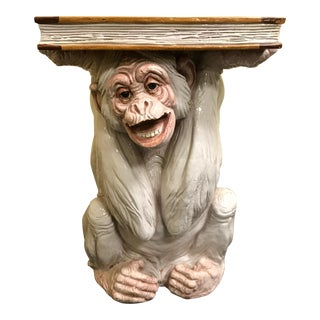 White Reading Monkey Garden Seat