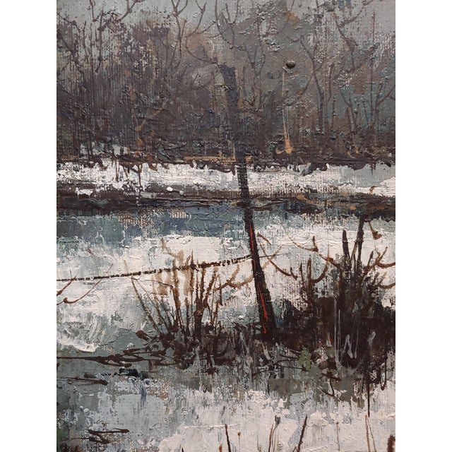 Canvas 1970s Cottage Oil Painting, Winter Countryside Landscape by Aldo Luongo For Sale - Image 7 of 10