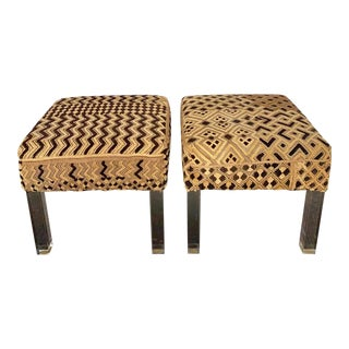 Modern Acrylic and Kuba Cloth Upholstered Benches - a Pair For Sale