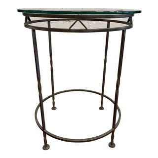 Custom Metal + Glass Round Side Table For Sale