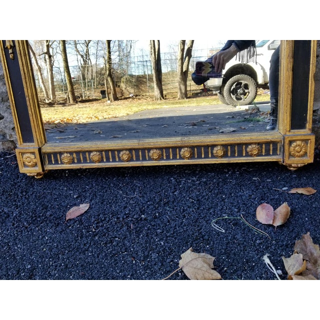 Italian Neoclassical Empire Style Giltwood Large Mirror For Sale - Image 10 of 11