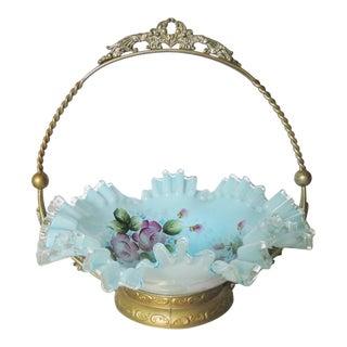 Victorian Enameled Glass Bride's Basket For Sale