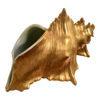 Ceramic Water Gilt Conch Shell Planter For Sale