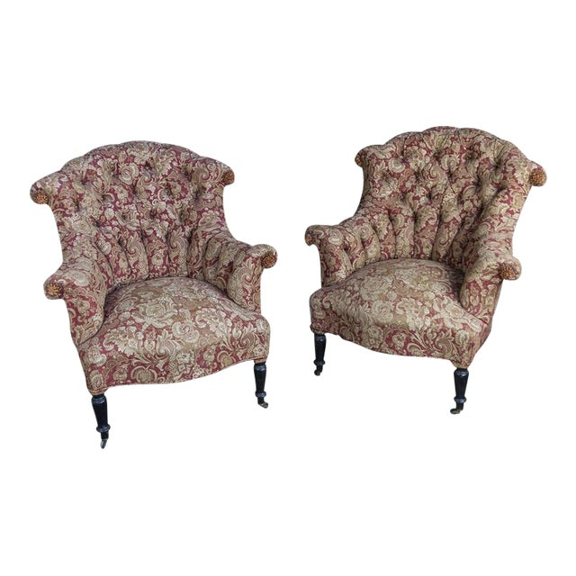 Pair of Tufted and Scrolled Back Armchairs For Sale