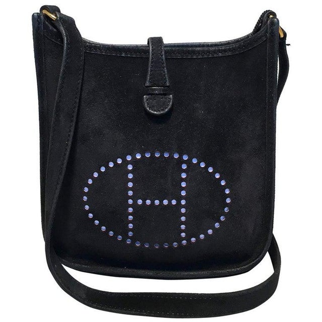 Hermes Black Suede Evelyne Tpm Mini Shoulder Bag For Sale - Image 13 of 13