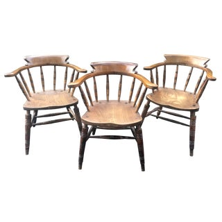 Late 19th Century Antique English Pub Chairs- Set of 3 For Sale