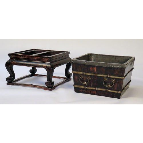 Asian 1900s Chinese Faux Bamboo Ice Chest on Stand For Sale - Image 3 of 7
