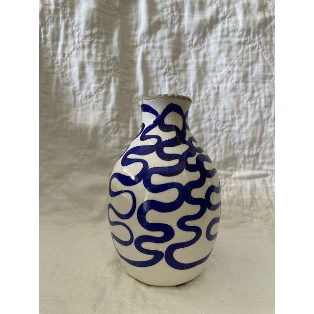 Modern Blue and White Ceramic Vase For Sale In Boston - Image 6 of 6