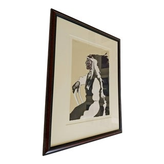 Mid-Century Modern Framed Print of Native American Signed Fritz Scholder For Sale