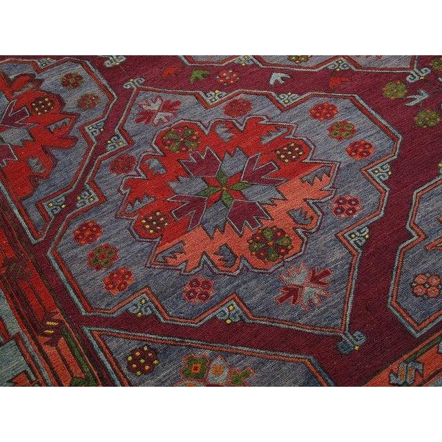 Blue Caucasian Sumak Carpet For Sale - Image 8 of 10