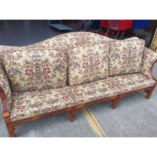 Chinese Chippendale Carved Camelback Sofa - Image 9 of 11