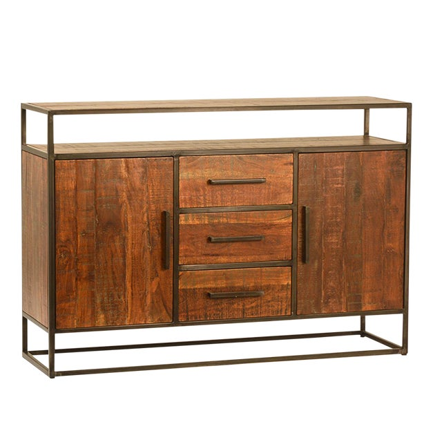 Acacia Wood & Iron Sideboard W/Drawers For Sale