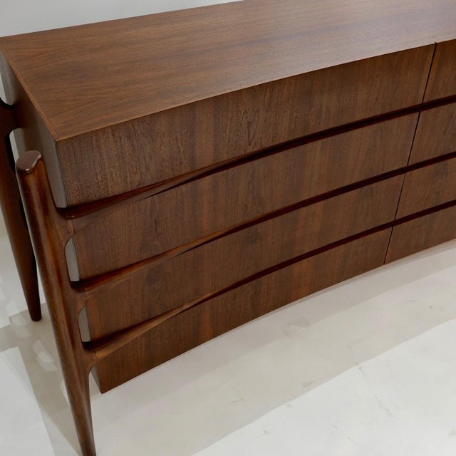 Wood William Hinn Scandinavian Mid-Century Modern Stilted Curved Chest or Dresser For Sale - Image 7 of 13