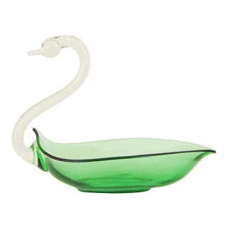 Vintage Mid-Century Modern Glass Sculptural Swan Dish For Sale
