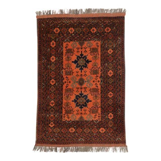 Vintage Afghani Rug with Tribal Design and Modern Style