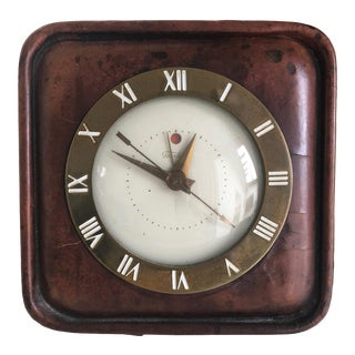 Mid Century Telechron Electric Leather Table Clock For Sale
