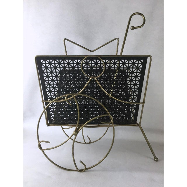Metal Mid-Century Rolling Magazine Rack For Sale - Image 7 of 8