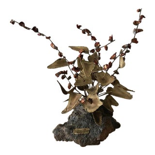 Vintage Brutalist Brass & Copper Flower Sculpture by Bob Saxon – 1975