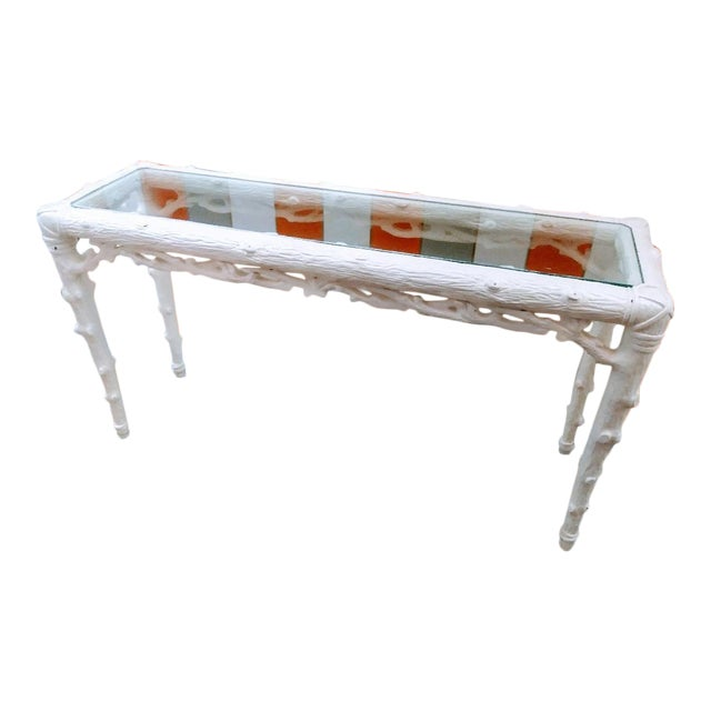 Faux Bois Palm Beach Regency Twig Console Sofa Hall Table For Sale