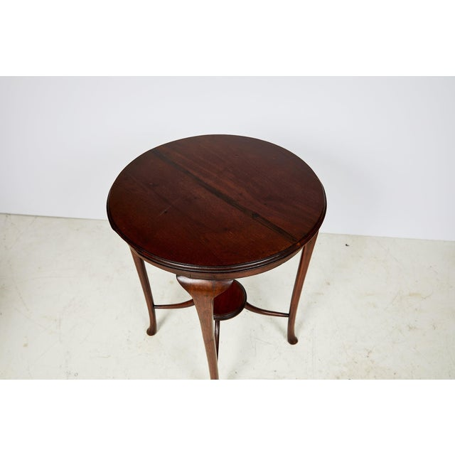English Art Nouveau Round Tea Table of Mahogany For Sale - Image 12 of 13