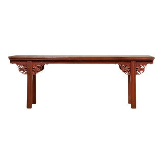 Ming Dynasty Style Chinese Elm Sang de Bœuf Console Table with Carved Apron For Sale