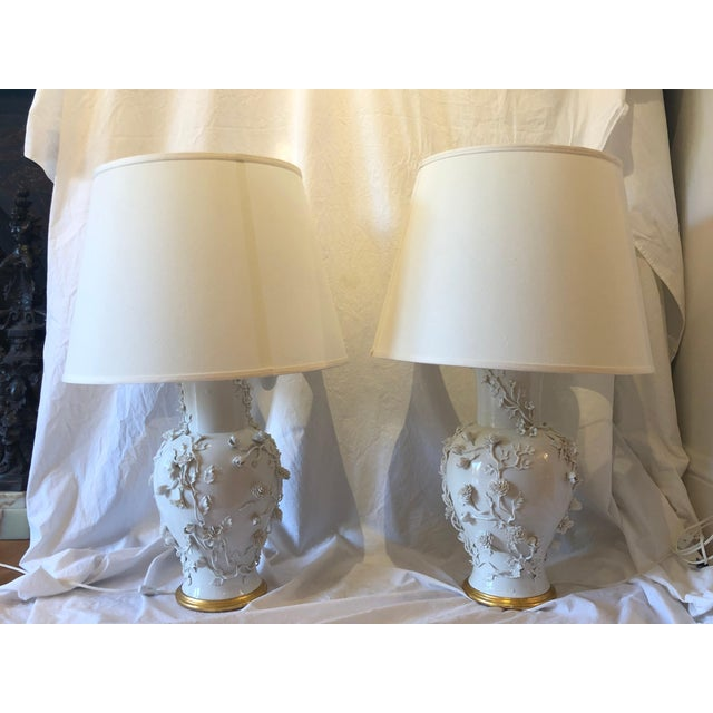 Asian Pair of Large Chinese Blanc De Chine Porcelain Vase Lamps, Applied Flowers For Sale - Image 3 of 11