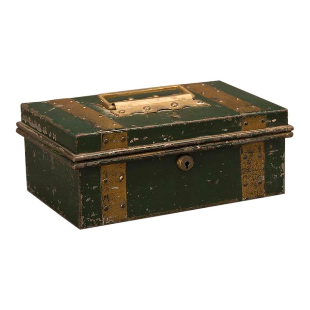 """Street Vendor's """"Cash"""" Hinged Metal Box, Painted Finish, England c. 1890 For Sale"""
