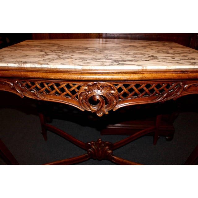 French French Louis XV Style Marble-Top Library Table For Sale - Image 3 of 8