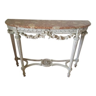 Neoclassical Demilune Console Table For Sale