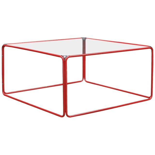 Retro Pool House Cube Table Low Red Tubular Vintage Midcentury Minimal Baughman For Sale