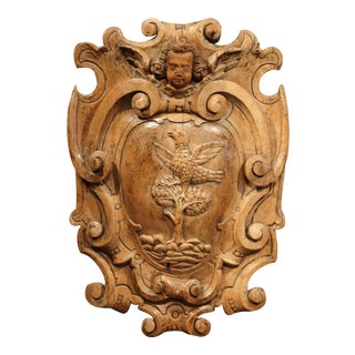18th Century French Hand Carved Walnut Wall Carving with Bird, Tree and Cherub