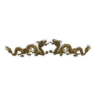 Vintage Brass Dragon Wall Sculptures - a Pair For Sale