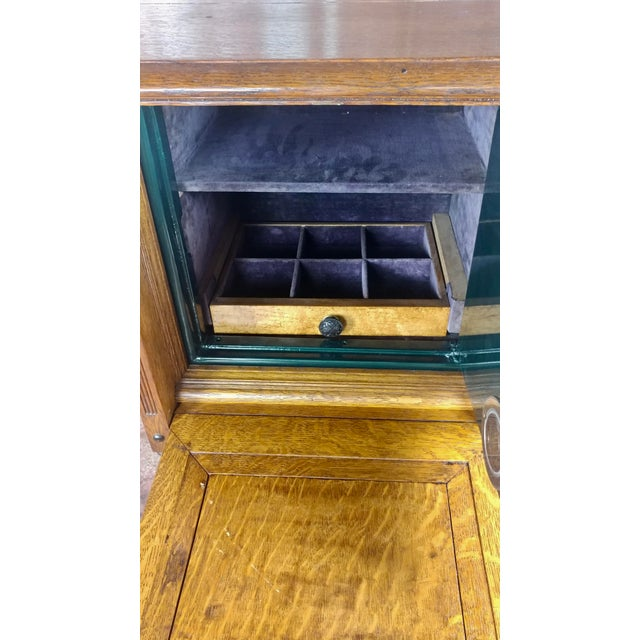 Oak Antique Victorian Oak Cabinet W/Hidden Jewelry Safe -Rare For Sale - Image 7 of 11
