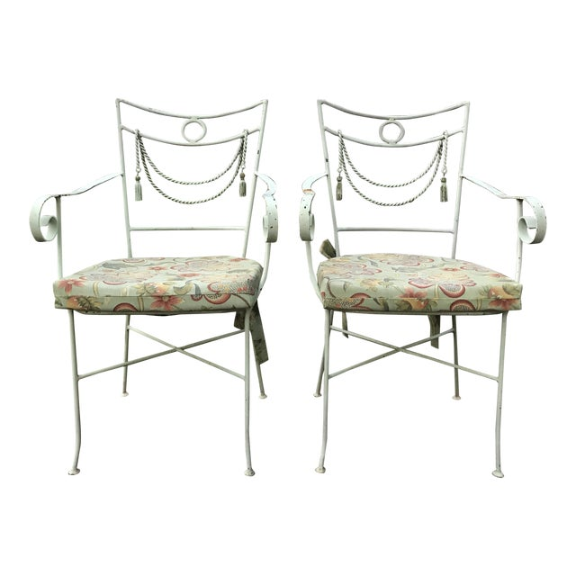 1960s Muted Green Iron Bistro Chairs With Rope Swag Design Credited to Tomaso Buzzi - a Pair For Sale