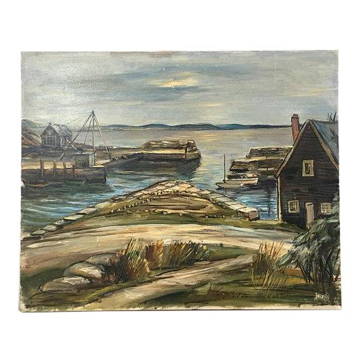 "1940s Original ""New England Wharf Harbor"" Signed Oil Painting by Vetold Pasternacki For Sale"