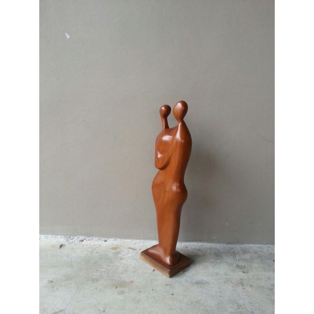 50's Tall mid-century modernist biomorphic wood sculpture titled genesis 2:23 sold as found in good condition showing very...