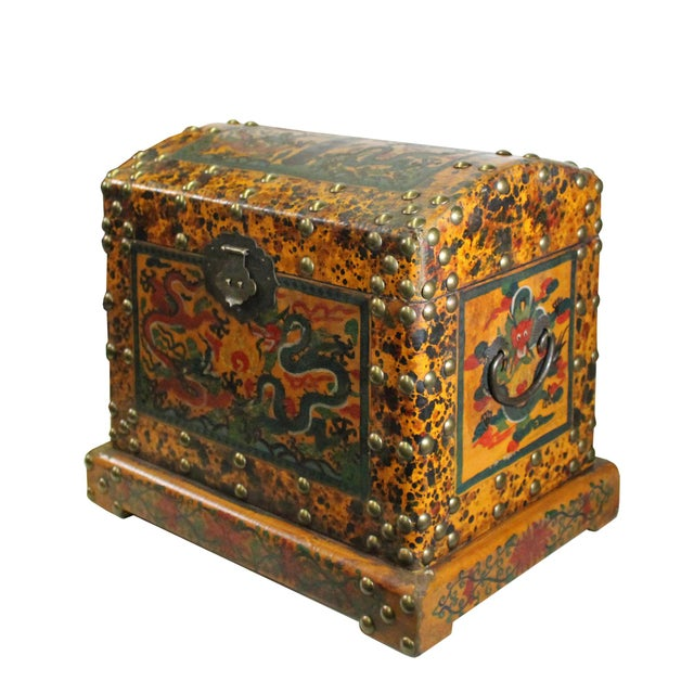 Chinese Distressed Yellow Red Dragon Graphic Trunk Box Chest For Sale In San Francisco - Image 6 of 9