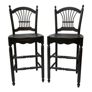 Pair of Black Wheat Sheaf Habersham Bar Stools For Sale