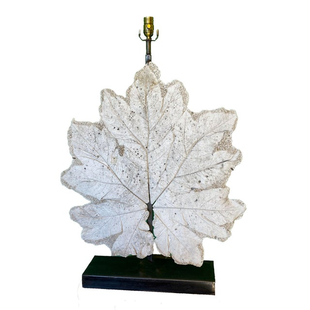 White French Lamp With Vintage Plaster Leaf For Sale - Image 8 of 8