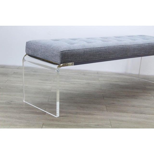 Elegant Custom Waterfall Acrylic & Linen Bench, Acrylic Bench, Gray Linen Bench For Sale In Miami - Image 6 of 10
