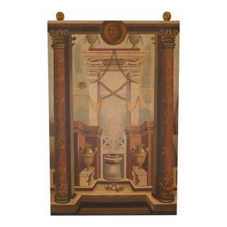 Maitland Smith Trompe-l'Oeil Hand Painted Wall Hanging With Brass Mounts For Sale